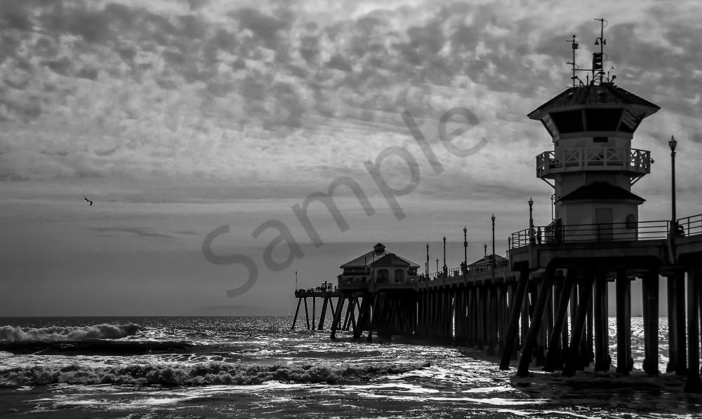 Huntington Beach Pier B W