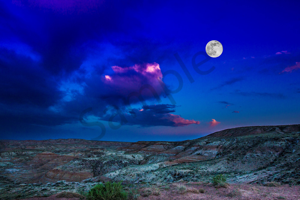 Full Moon In The Badlands Photography Art | John Martell Photography