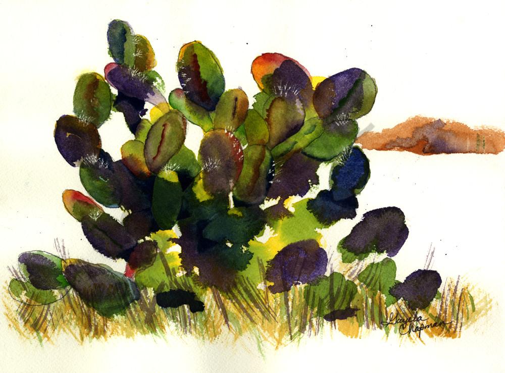 Prickly Pear Cactus art by Gayela's Premiere Watercolor|Main Store