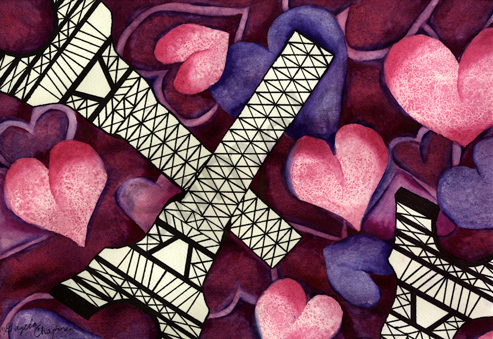 Eiffel Tower & Hearts art by Gayela's Premiere Watercolor|Main Store