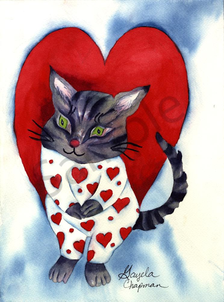 Cat in Heart PJ's art by Gayela's Premiere Watercolor|Main Store