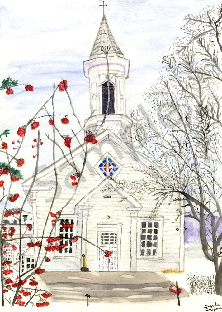 Old White Church art by Gayela's Premiere Watercolor|Main Store