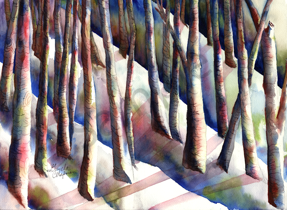 Winter Landscape Art by Gayela's Premiere Watercolor|Main Store