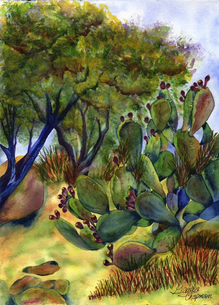 Palo Verde &Prickly Pear art by Gayela's Premiere Watercolor|Main Store