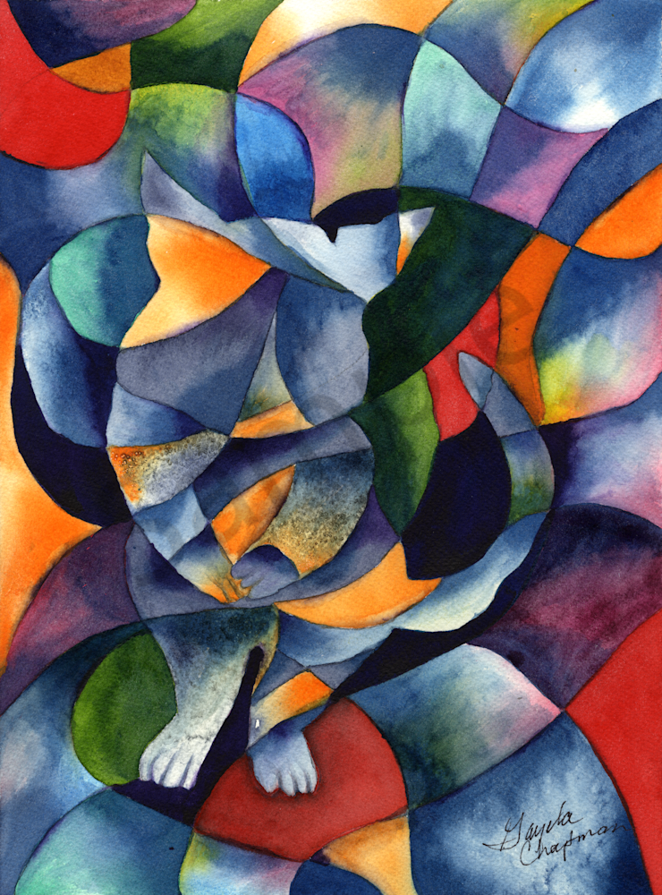 Cat Abstract art by Gayela's Premiere Watercolor|Main Store