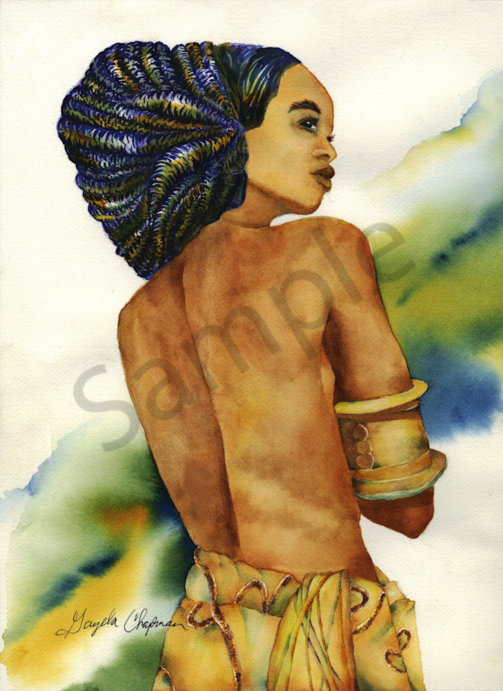 African Woman art by Gayela's Premiere Watercolor Main Store