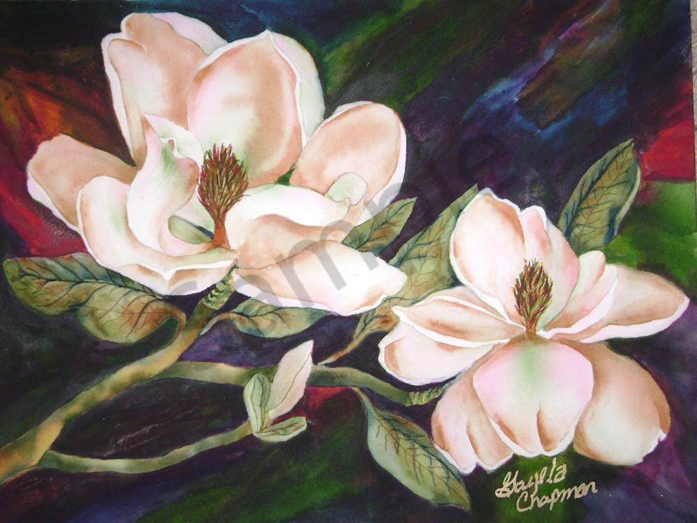 Magnolia Flowers art by Gayela's Premiere Watercolor Main Store