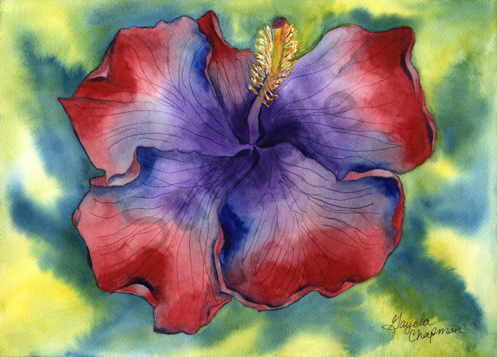 Red & Purple Hibiscus art by Gayela's Premiere Watercolor|Main Store