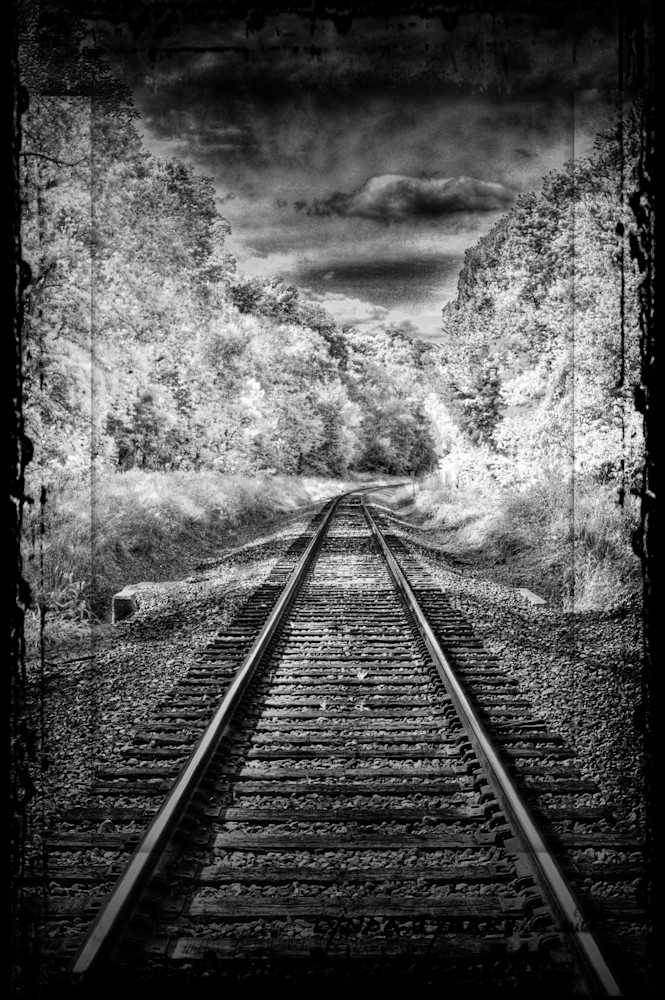 Lynda Tygart Railroad Tracks Black and White Omaha Nebraska – Fine Art Photographs Prints on Canvas, Paper, Metal and More.