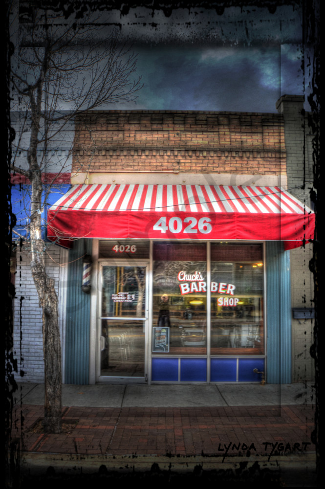 Lynda Tygart Fine Art Photographs Prints of Barber Shop in Denver Colorado in Tennyson Berkeley Neighborhood on Canvas, Paper, Metal & More.