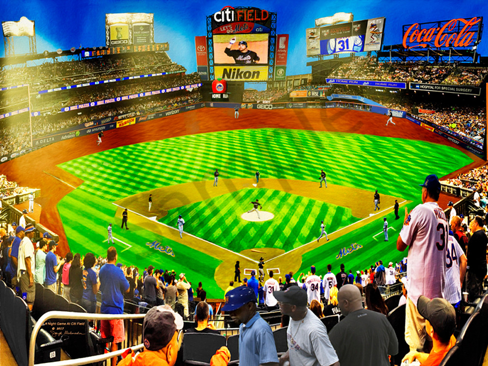 A Citi Field Night Game - The Gallery Wrap Store