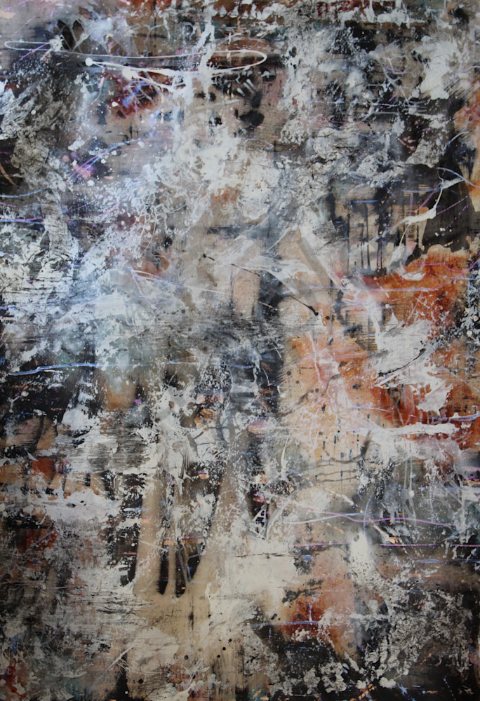 new abstract expressionist art|brown beige and black|Lesley Koenig