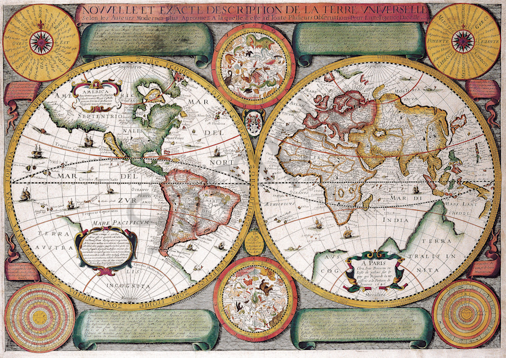 Antique maps of the world map of the world jean boisseau c 1646 gumiabroncs Gallery