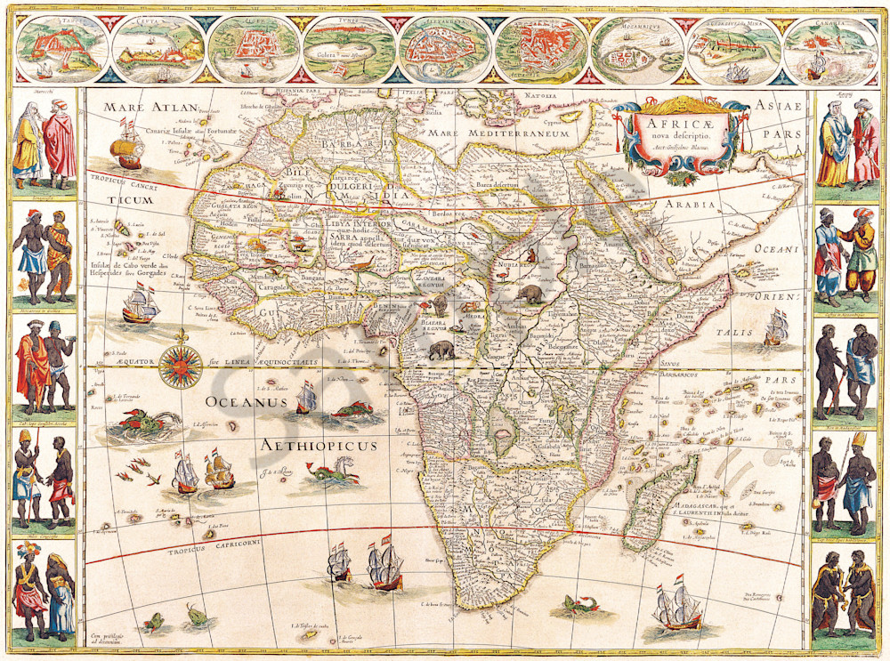 Blaeu World Map.Antique Maps Of The World Map Of Africa Willem Blaeu C 1640