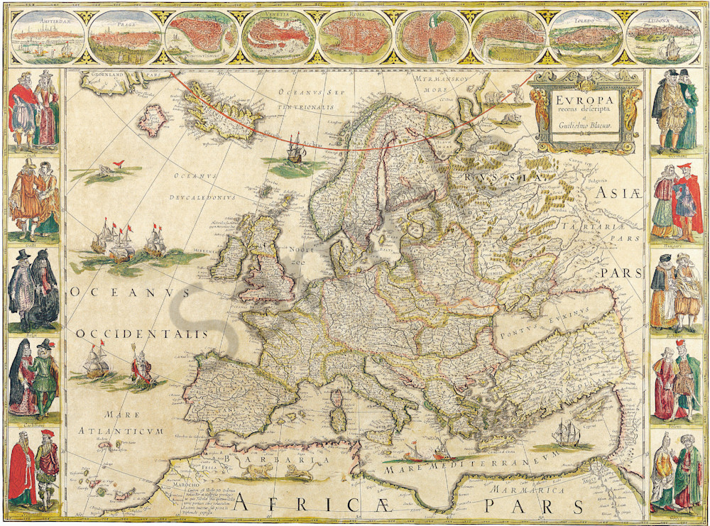 Blaeu World Map.Antique Maps Of The World Map Of Europe Willem Blaeu C 1650