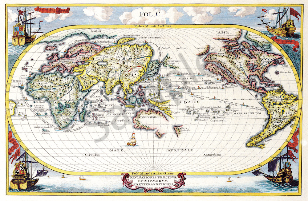 Antique Maps of the World, Map of the World, Heinrich Scherer, c 1700
