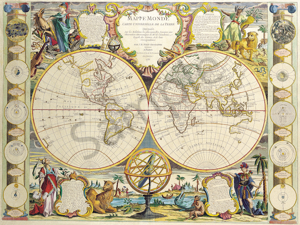 Antique Maps of the World, Double Hemisphere Map, Jean Baptiste Nolin, c  1755