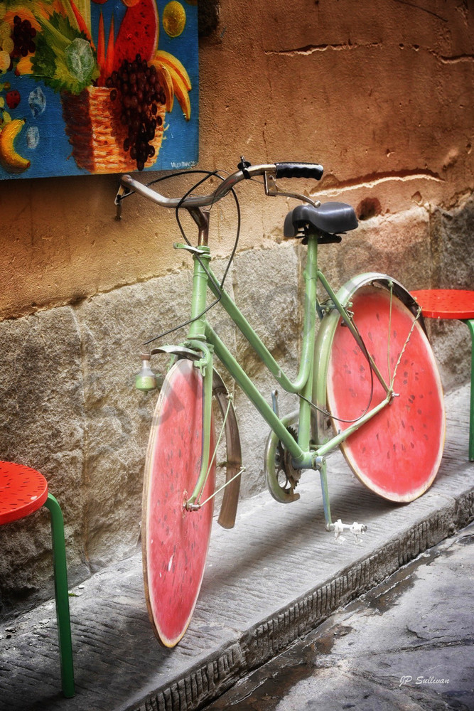 Sweet Ride - Italy watermelon bike - art photography prints - by JP Sullivan