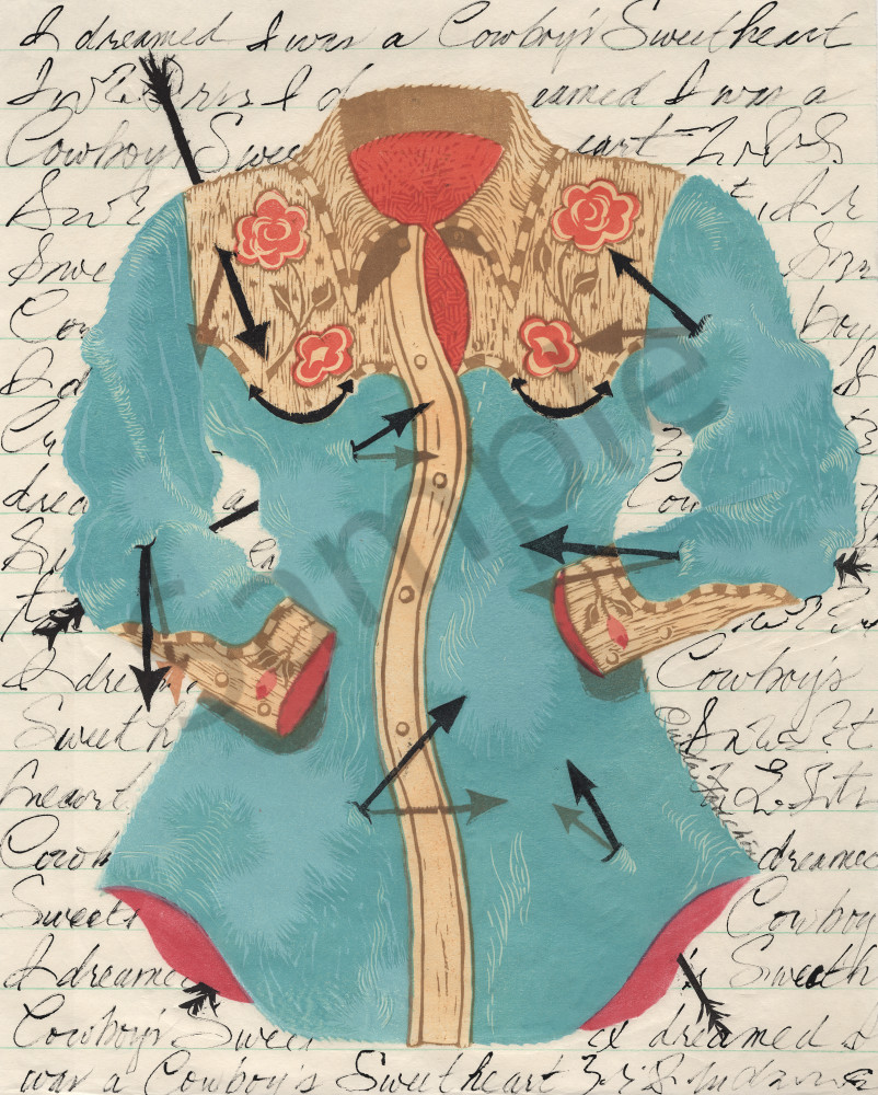 Cowboys-Sweetheart, an original handprinted design by Ouida Touchon, now available as fine art print.
