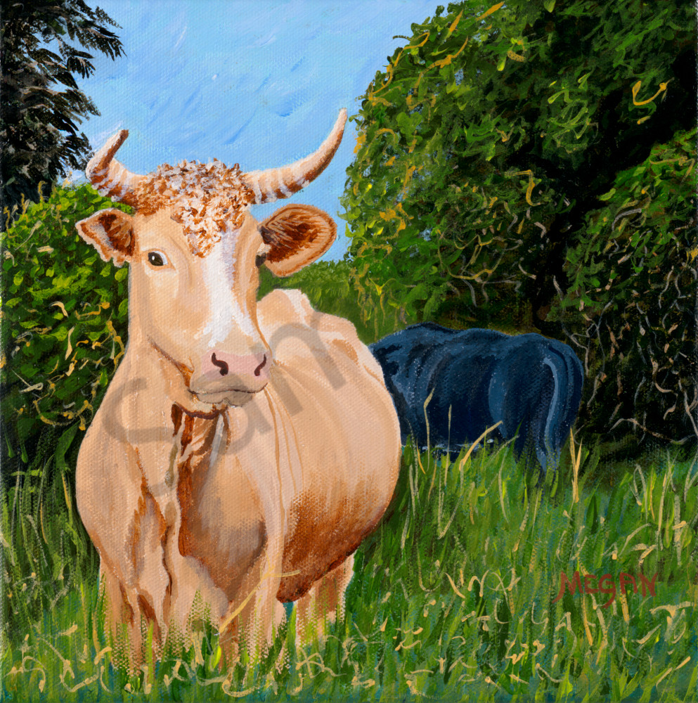 Moove Along, painting, art, cow, matriarch
