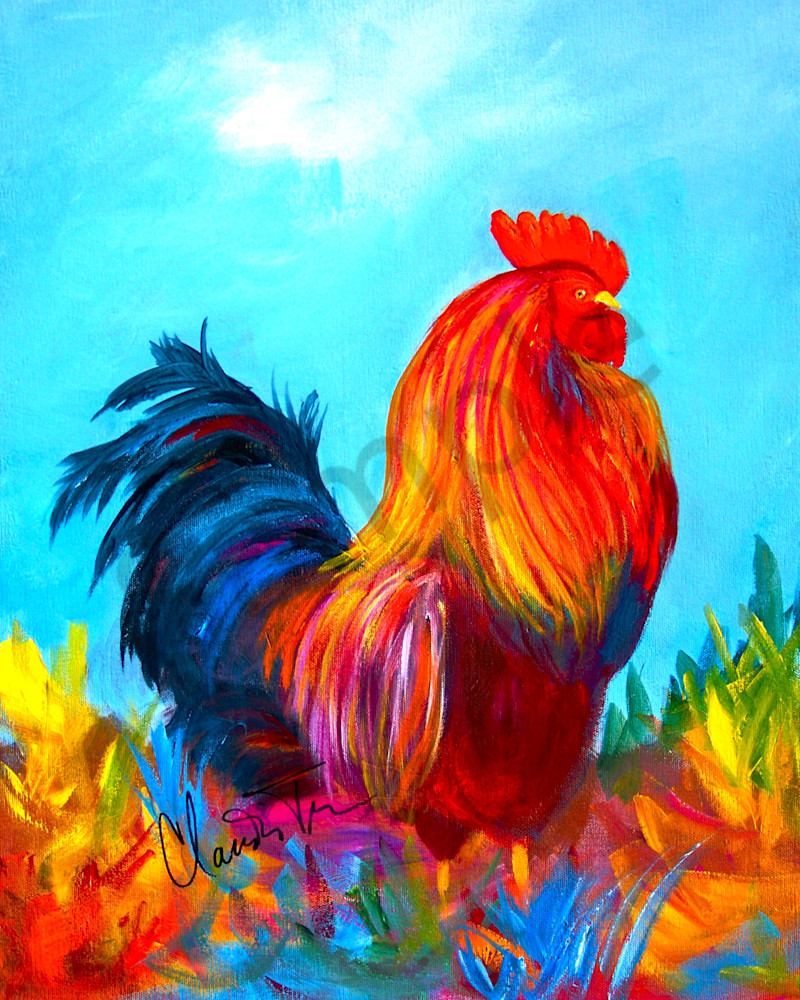 Rhode Island Rooster painting by Claudia True