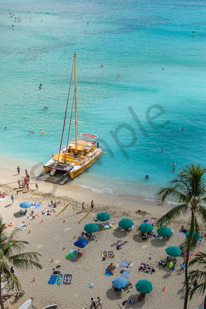 Waikiki Beach Catamaran photo for sale | Barb Gonzalez Photography