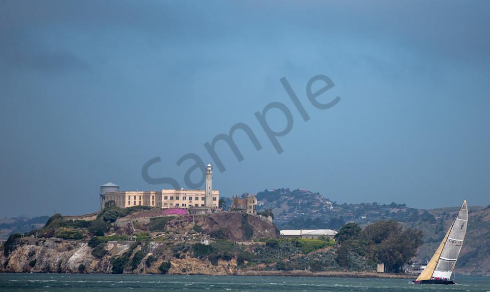 Alcatraz and Sailboat Fine Art Photo- in Canvas, Metal, or Archival print