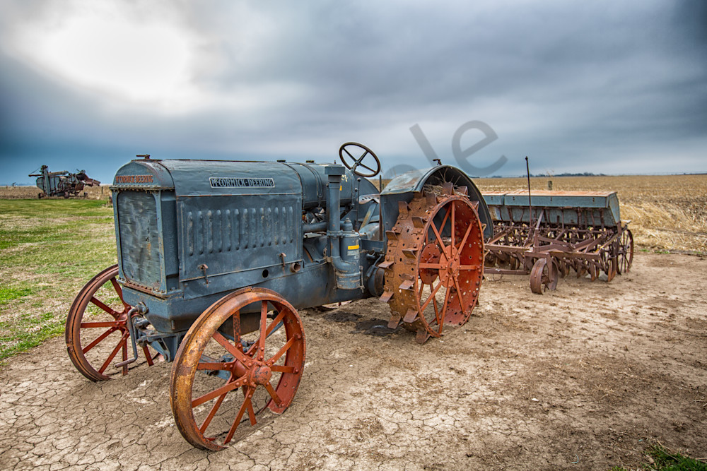 Antique Nebraskan Tractor moody photo for Sale by Barb Gonzalez Photography