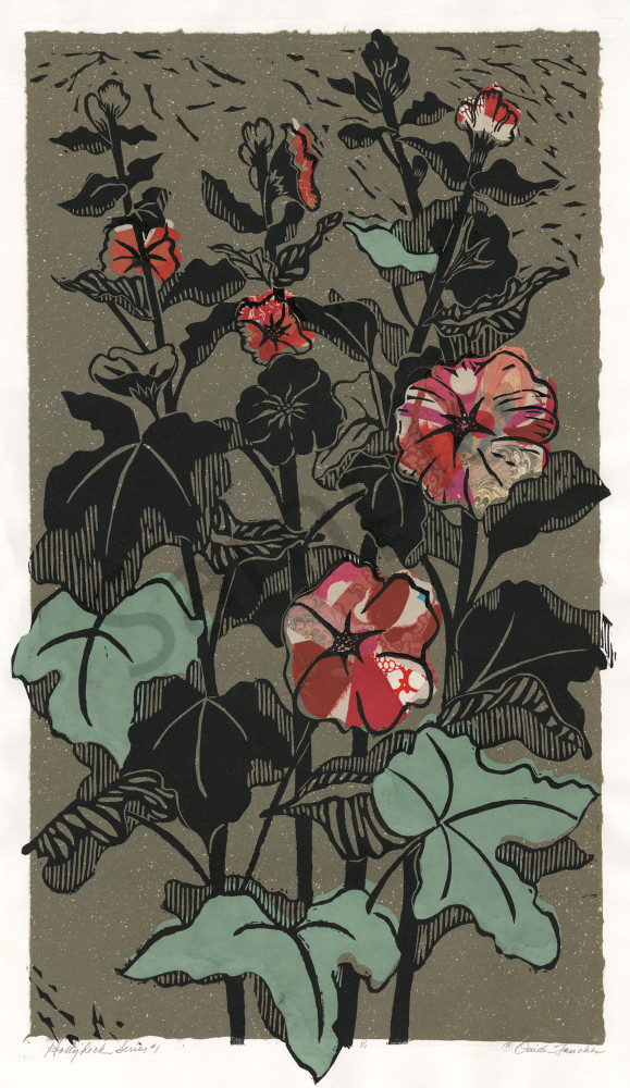 Hollyhock series 1, Ouida Touchon, fine artist, woodcut print with chine colle technique, graphic botanical