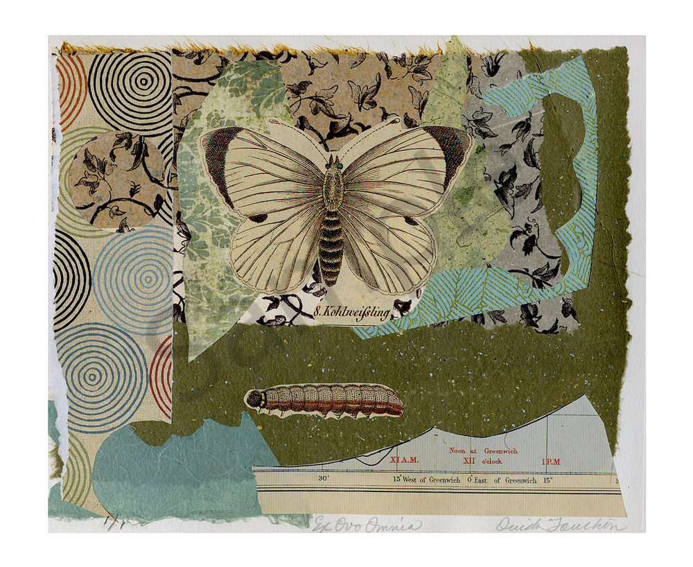 Ex Ovo Omnia, butterfly fine art collage using chine colle technique, for sale by Ouida Touchon, New Mexican printmaker