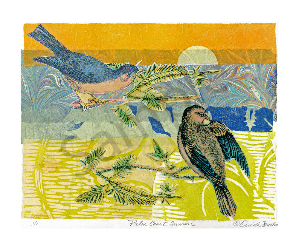 Palm Court Sunrise, handprinted fine art by Ouida Touchon, chine colle technique in collage on paper, songbirds at sunrise