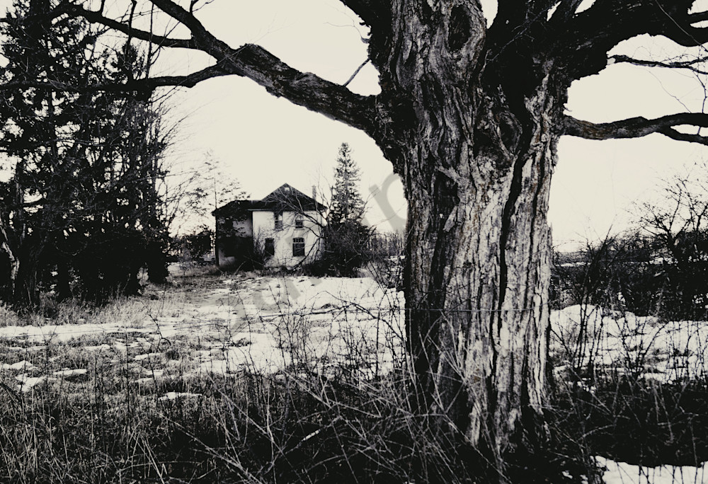 Spooky black & white photograph of an abandoned home in the country, for sale as fine art by Sage & Balm