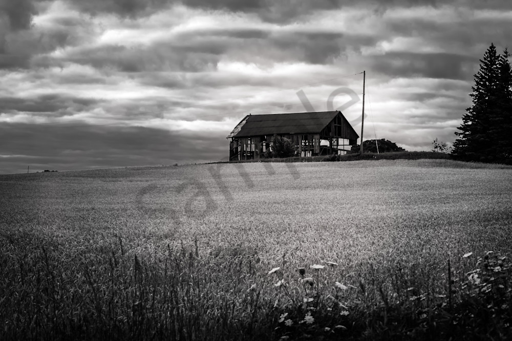 Black & white photograph of an abandoned barn in rural Ontario, for sale as fine art by Sage & Balm