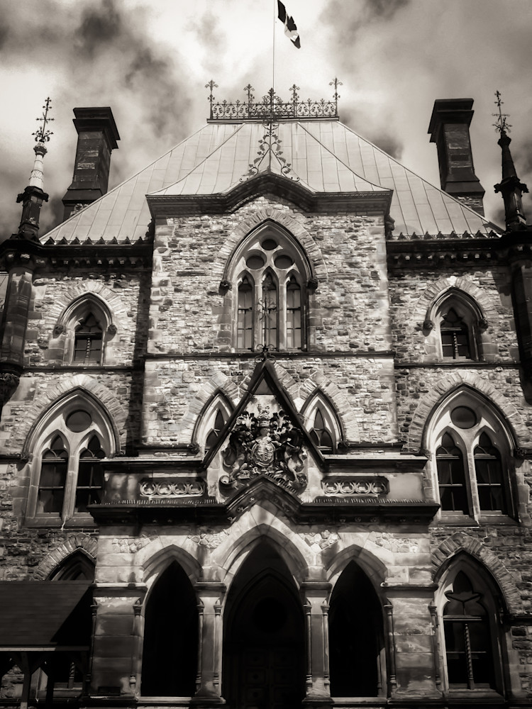 Black & white photograph of a beautiful parliament building at Capitol Hill, Ottawa, for sale as fine art by Sage & Balm