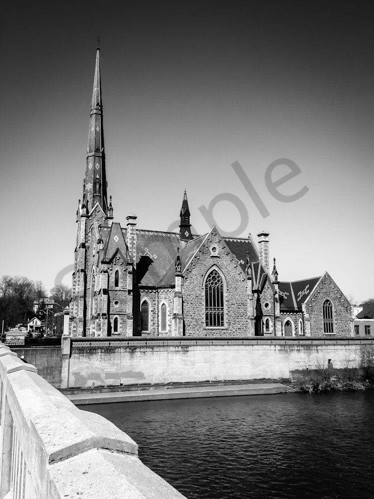 Black & white architectural photograph of the Central Presbyterian church in Cambridge, Ontario, for sale as fine art by Sage & Balm