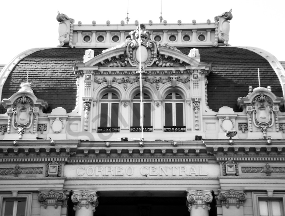 Black & white architectural photograph of the Central Plaza building on Victoria Harbour, BC, for sale as fine art by Sage & Balm