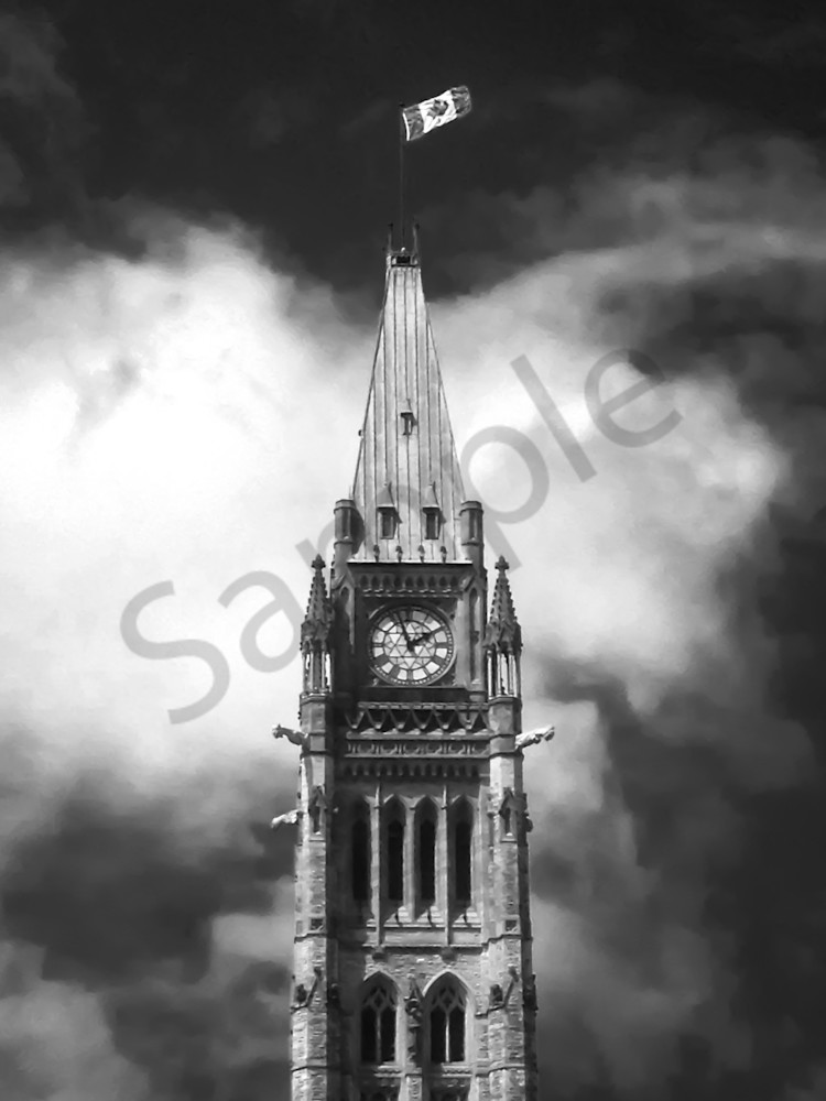 Black & white photograph of the Canadian parliament building clock-tower, for sale as fine art by Sage & Balm