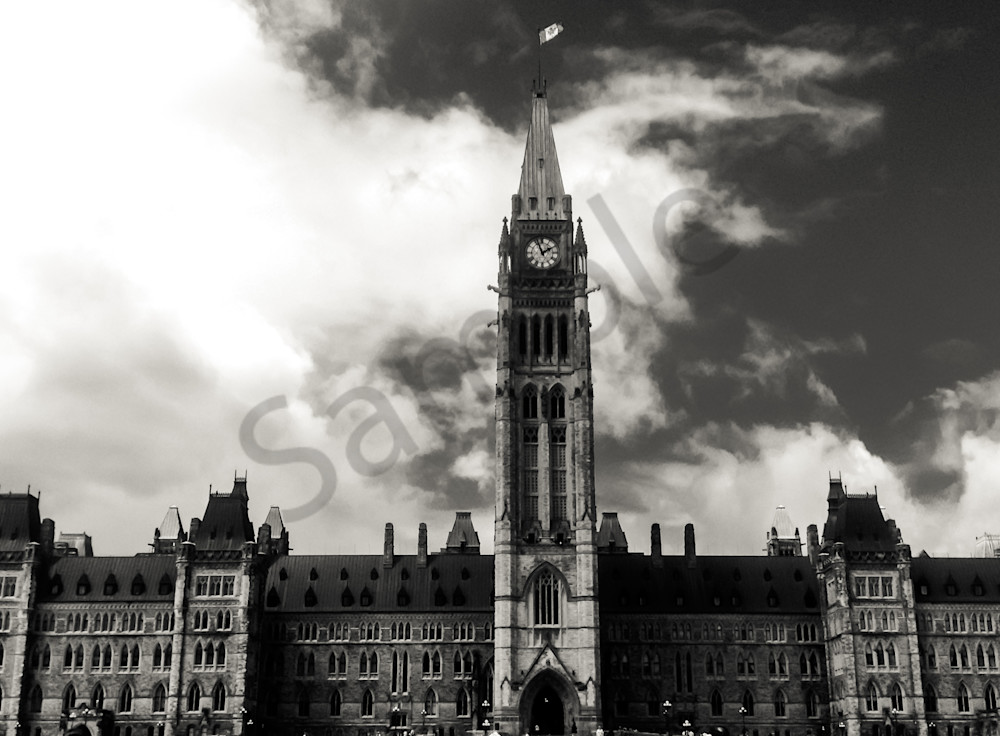 Black & white photograph of the Canadian government's parliament buildings, for sale as fine art by Sage & Balm