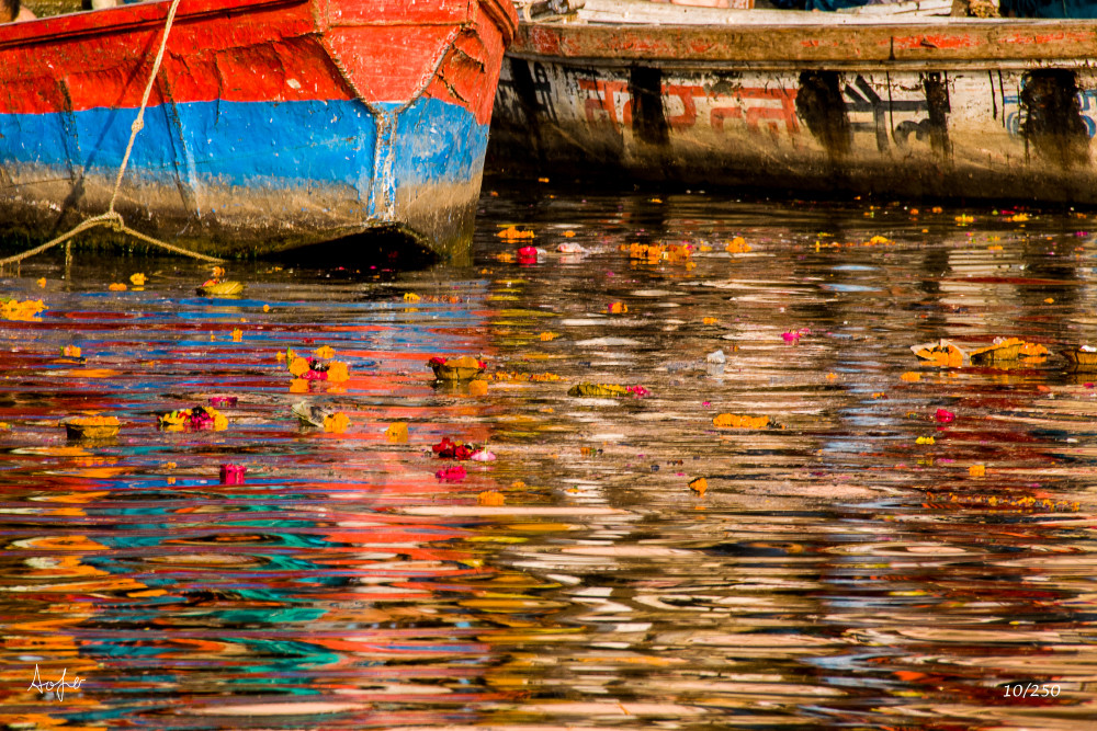 Colorful reflection on Ghanges river, Varanasi
