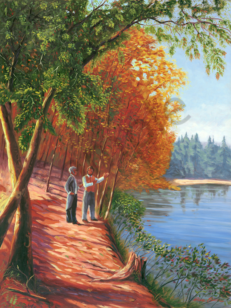 Oil painting of Ralph Waldo Emerson and Henry David Thoreau at Walden Pond by Steve Simon