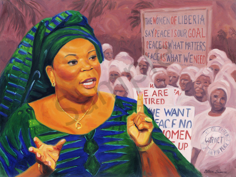 Leymah Gbowee Portrait Painting by Steve Simon
