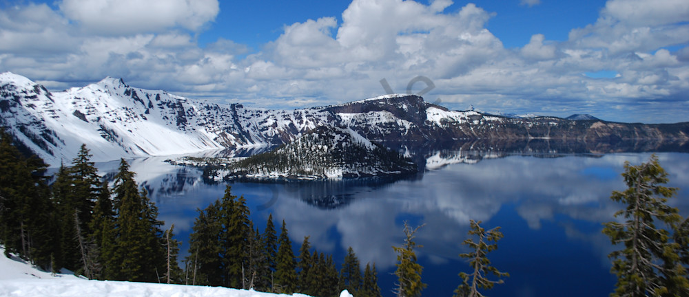 Crater Lake, Snow And Clouds Photography Art | Barb Gonzalez Photography