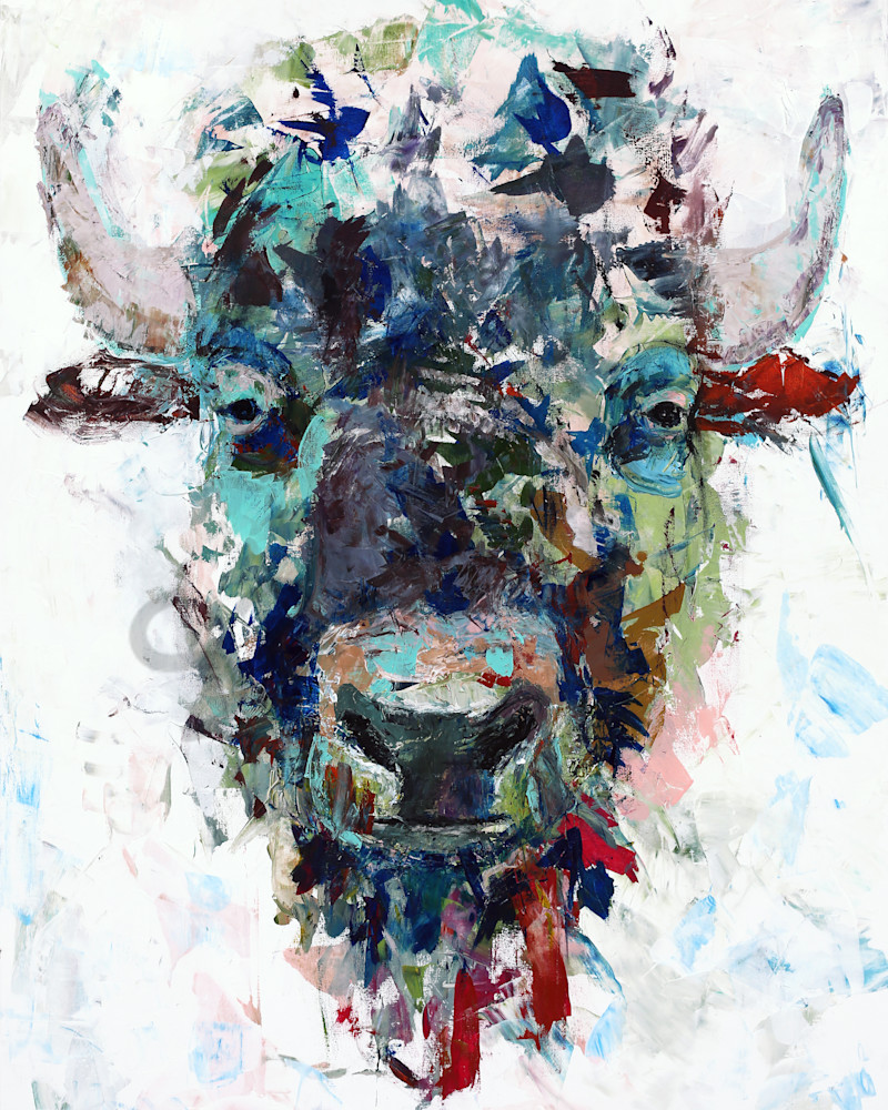 Mr Bison, acrylic painting and print reproductions (buffalo)