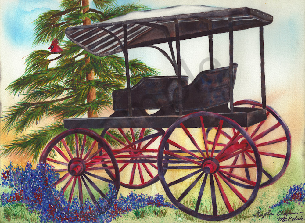 Old black carriage Art by Gayela's Premiere Watercolors|Main Store
