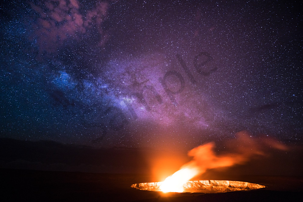 Hawaii Photography Halemaumau Crater With Milky Way By