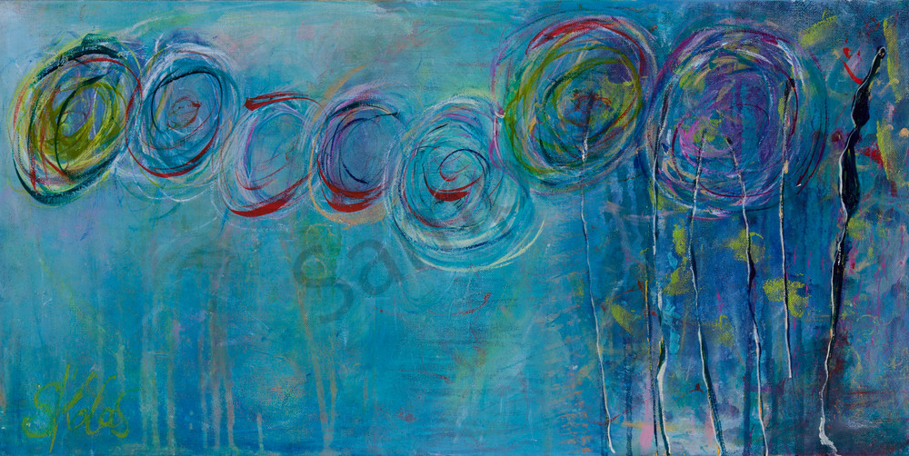Celebration 15 x 30 is a unique abstract intuitive landscape original art canvas painting for sale.  A happy painting with a  cool palette with hues of blues and circles  Available Canvas Prints for sale.