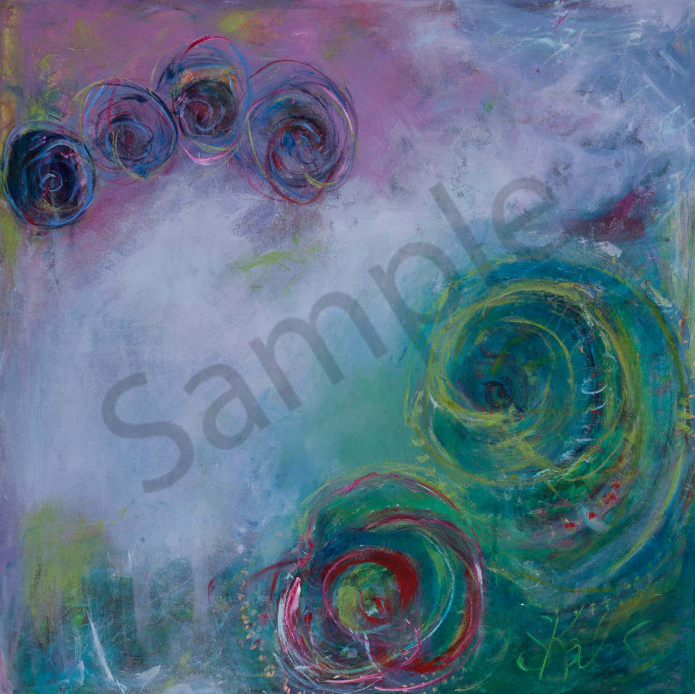 Family Original Acrylic Abstract Intuitive Expressionist Art Painting With Cool Pinks Blues And Warm Greens Original Canvas Art Prints, Metal and Acrylic Mounts, & Fine Art Paper Prints For Sale By Artist Stacey Kalavritinos 2017.