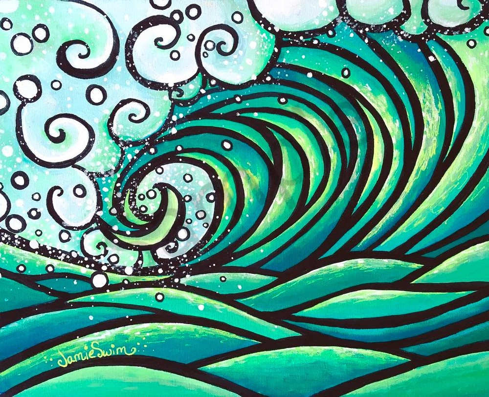 Green Wave Art | Swim Whimsey