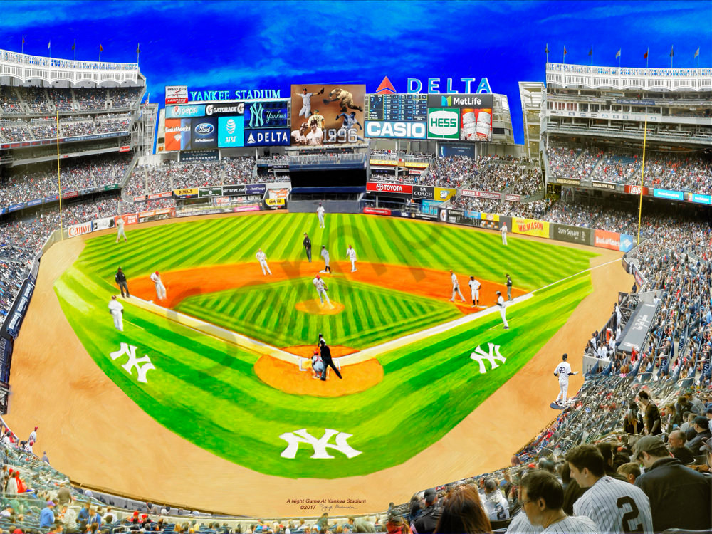 Yankee Stadium Night Game Painting - The Gallery Wrap Store