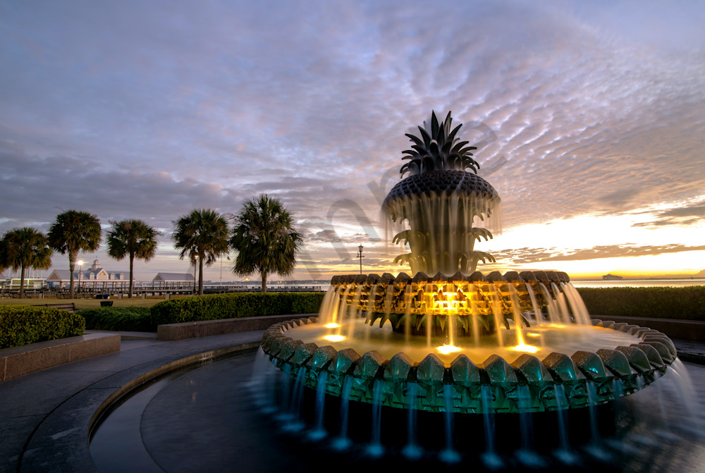 Pineapple Fountain Sunrise Photograph for Sale as Fine Art